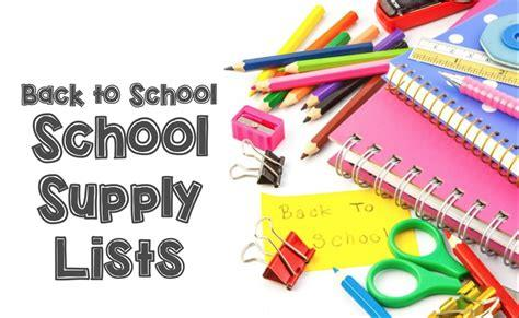 Back to School School Supply Lists