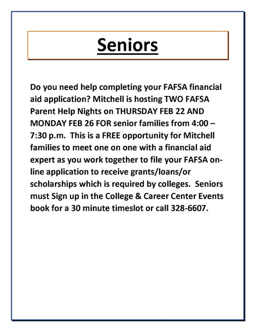 FAFSA Nights - Two of Them - Right Around the Corner!!!