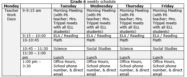 Mann 6th Grade Recommended Schedule