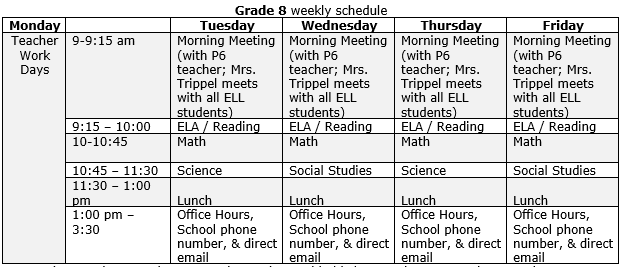 Mann 8th Grade Recommended Schedule.